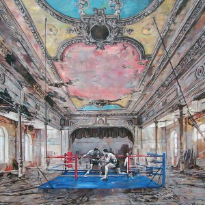 """""""Boxing match"""" oil on canvas 120x110cm, 2016"""