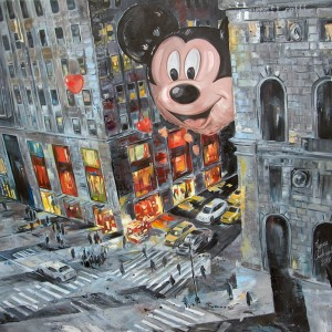 """Mickey in the city"" oil on canvas ""100x100cm, 2016"