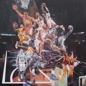 """NBA I"" oil on canvas 100x100cm, 2016"