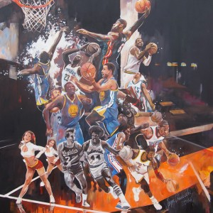 """NBA II"" oil on canvas 100x100cm, 2016"