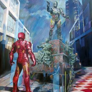 """When Iron man visits Detroit"" oil on canvas 130x115cm, 2017"