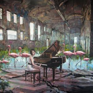 """""""An interrupted music lesson IV"""" oil on canvas 114x130cm, 2018"""