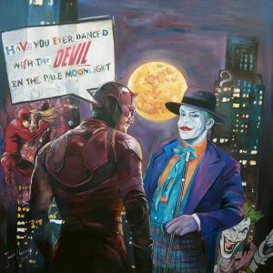 """When Daredevil  meets Joker"" oil on canvas 100x100cm, 2018"