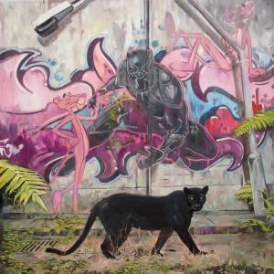 """""""Pink panther black"""" oil on canvas 150x100cm, 2018"""