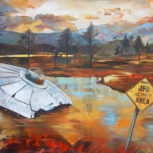 """UFO II"" oil on canvas 70x100cm, 2019"