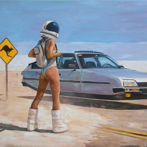 """""""Back to the future II"""" oil on canvas 70x100cm, 2019 framed"""