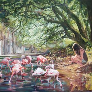 """Flamingos I"" oil on canvas 80x120cm 2019"