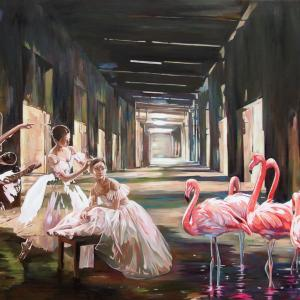 """Ballet lesson"" oil on canvas 80x120cm, 2019"