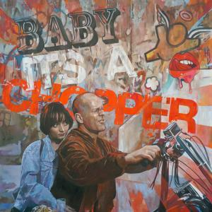 """Baby Its A Chooper"" oil on canvas 100x100cm 2020"