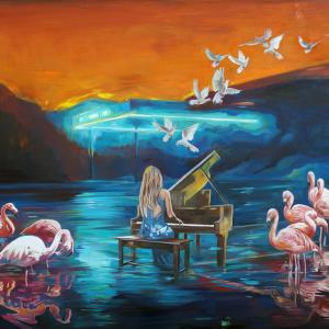 """An Interrupted music lesson X"" oil on canvas 80x120 cm 2020"