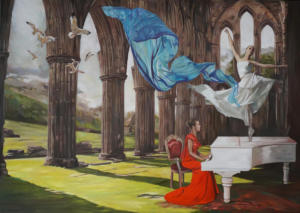 """An interrupted music lesson XI"" oil on canvas 140x100cm 2021"