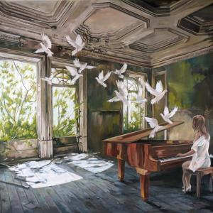 """An interrupted music lesson XII"" oil on canvas 150x100cm 2021"