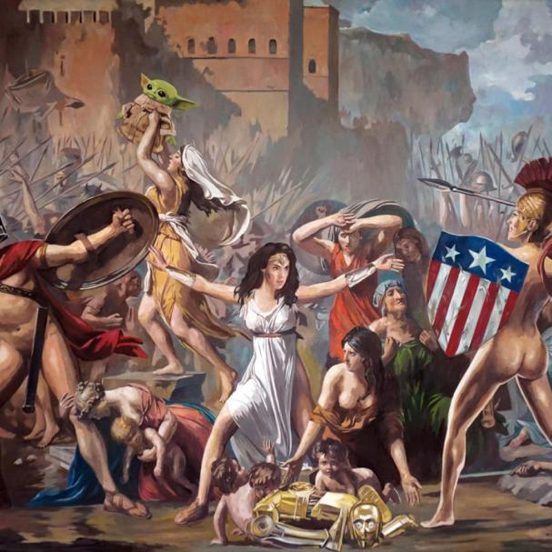 """""""Big Trouble in little Rome"""" oil on canvas 100x140cm 2021"""